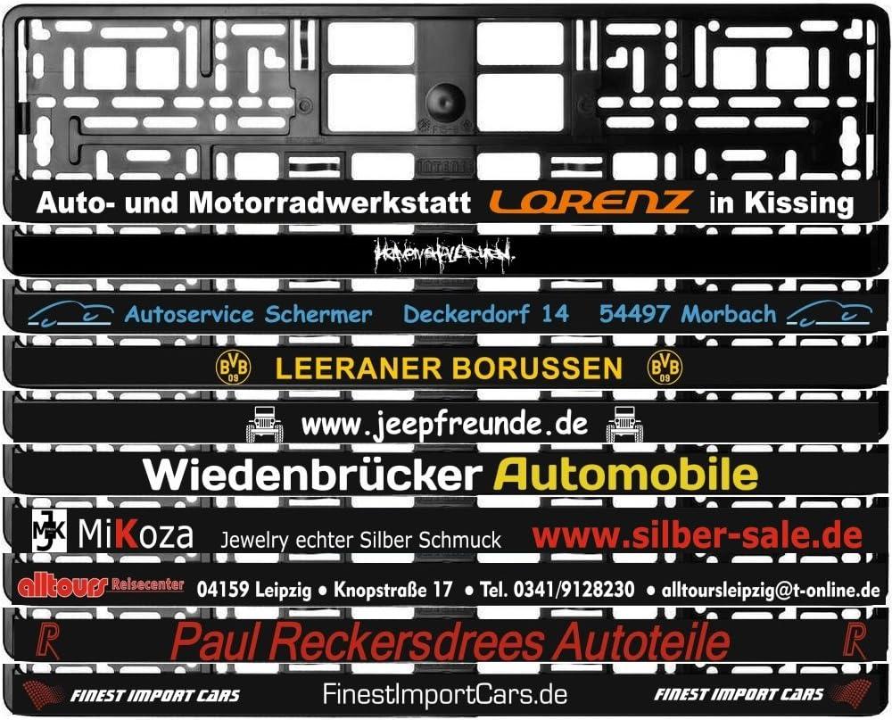 Kennzeichenhalter Schwarz Mit Individuellem Wunschtext PremiumqualitÄt Ab 9 70 Eur Stückzahl Wählbar 2 Stück Auto