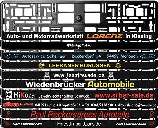 2 Stück Kennzeichenhalter Schwarz mit Wunschtext Beschriftung Werbung bedruckt. KOSTELOSE LIEFERUNG