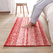 Bedside Rugs, Modern Bathroom Living Room Non-Slip mats, Door Gray Stripes Absorbent pad (Size : 50 * 80cm-red)