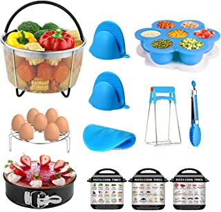 12 Piece Kit for Instant Pot Accessories 6 QT, 8 QT Include Steamer Basket, Springform Pan, Egg Bites Mold, Egg Rack, Magnetic Cheat Sheet, Silicone Scrub, Mini Mitts, Bowl Clip and Food Tong