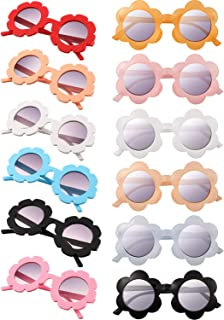 Frienda 12 Pieces Kids Sunglasses Round Flower Sunglasses Colorful Sunglasses for Boys Girls Halloween Party Favors