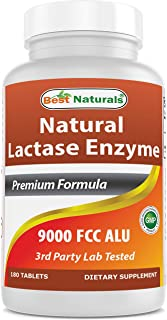 Best Naturals Lactose Intolerance Relief Tablets with Natural Lactase Enzyme, Fast Acting High Potency Lactase, 9000 FCC A...
