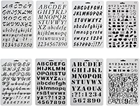 URlighting Bullet Journal Drawing Stencil Template Set (8 P cs) Plastic Planner Stencils with Letters Number Alphabet for ...