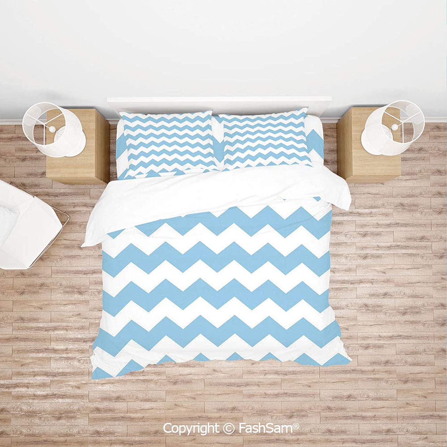 FashSam Duvet Cover 4 Pcs Comforter Cover Set Old Fashioned Classic Chevron Zigzags Baby Kids Room Nursey Themed Tile Decorative for Boys Grils Kids(Queen) ajrioubfsza1