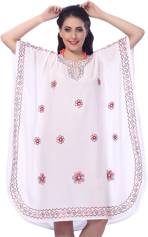 LA LEELA Women's Midi Caftan Night Dress Loungewear Beach Cover Ups Embroidered