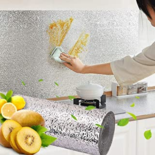 Hiki Ziki Kitchen Oil-Proof Aluminum Foil Sticker Wall Desk Floor Waterproof DIY Home Furniture Decorate Foil Style Wallpa...