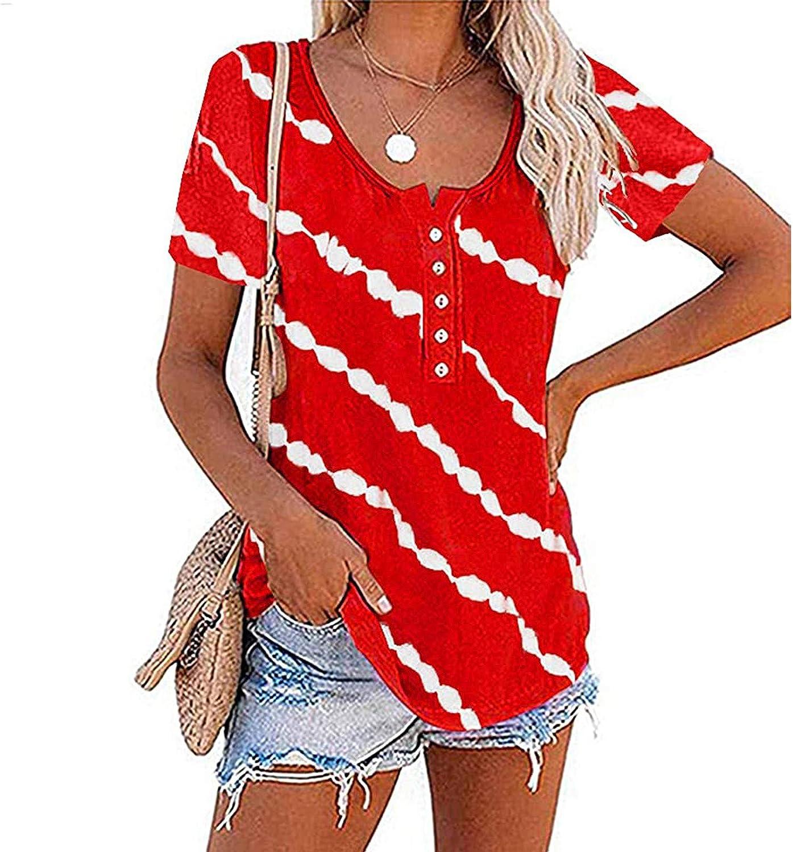 FABIURT Tank Tops for Women Casual, Womens Stripes Printed Tank Tops Sleeveless O-Neck Henley Shirt Summer Workout Tees