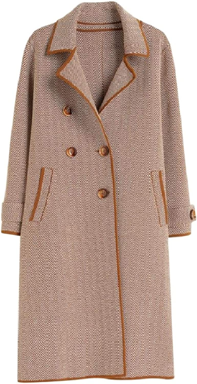 Baseby Women Classic Fleece Houndstooth Wool Blend Trench Coat Jacket