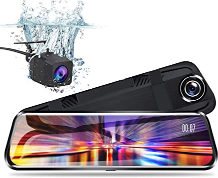 $79 Get Pruveeo T10 10-inch Touch Screen Dash Cam Dual FHD 1080P Streaming Media Dash Camera for Cars Front and Rear and 170 Degrees Waterproof Backup Camera