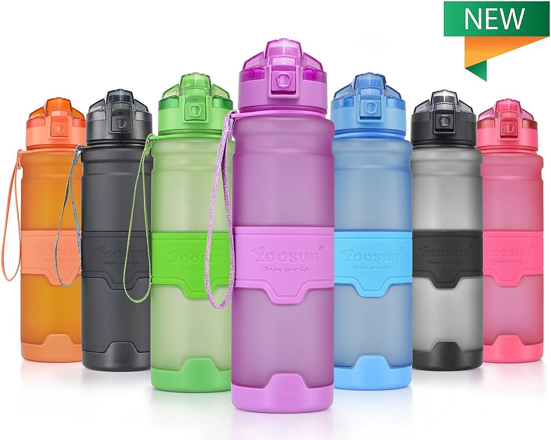 YOOSUN Sport Water Bottle BPA Free Leak Proof Travel Water Bottle Eco Plastic Drinks Bottle Fitness Running Outdoor Camping Gym Water Bottle 1 Click Opening
