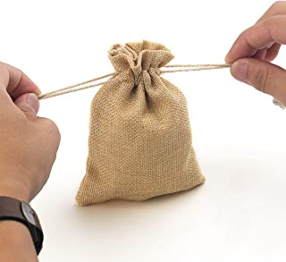 YUXIER Burlap Bags with Drawstring Favor Bags Jewelry Bags for Wedding Party,Arts & Crafts Projects, Presents, Snacks Christmas Decorations 5.3X3.7inch 50 Gift Bags (Brown)