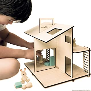 Wooden Dollhouse - Portable Toy Doll House Modern Design for Small Dolls & Toys up to 3