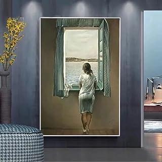 Målning på duk 50 cm x 70 cm ingen ram kvinnan vid fönstret Salvador Dali väggkonst bilder för vardagsrum väggdekoration