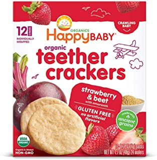 Happy Baby Organics Organic Teether Crackers Gluten Free Strawberry & Beet with Amaranth, 0.14 Oz, 12 Packets, 6Count