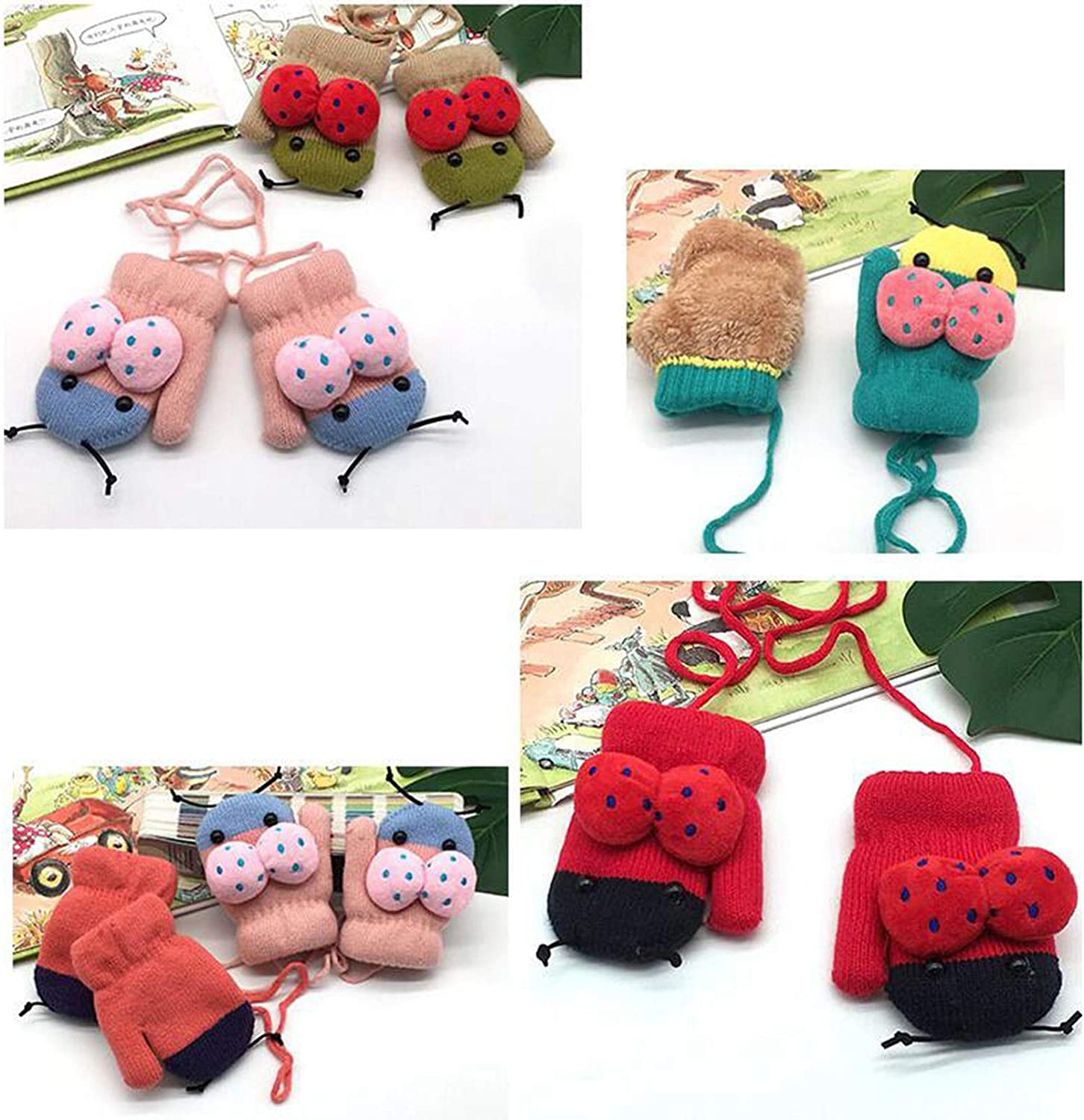 Girls Mittens, Ladybug 2-layer Thermal Kids Cold Weather Gloves for Christmas Holiday Season