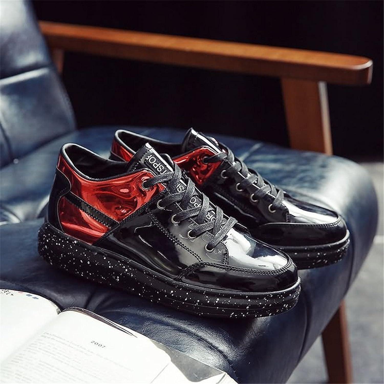 Gräv hundben Man's Flat Flat Flat Heel Lace up Mode skor Patent läder skor  Fri frakt på alla beställningar