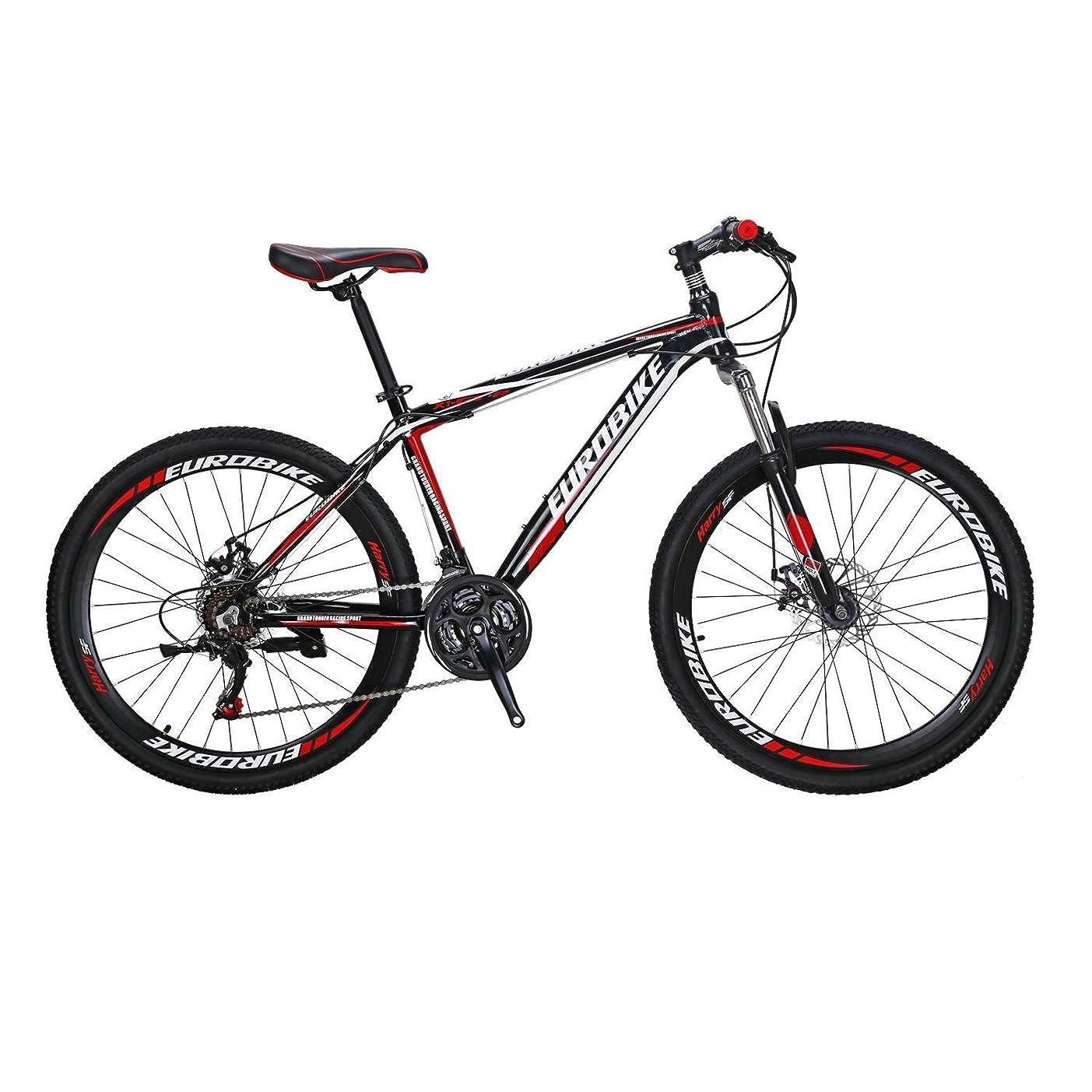ベスビオ山プランターリスキーなEUROBIKE MTB マウンテンバイク アルミニウム合金 X1-GTR 26インチ 21段変速 前後ディスクブレーキ ハードテイル 軽量 通勤 通学 自転車