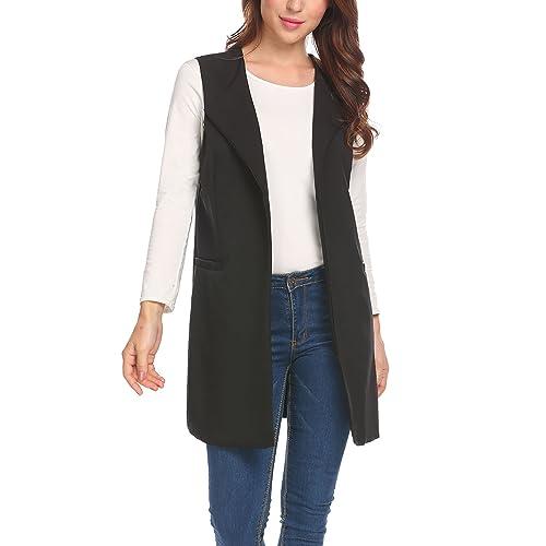ba37ec24b66cba Zeagoo Women s Open Front Longline Duster Blazer Vest Sleeveless Long Vest  Coat Pockets