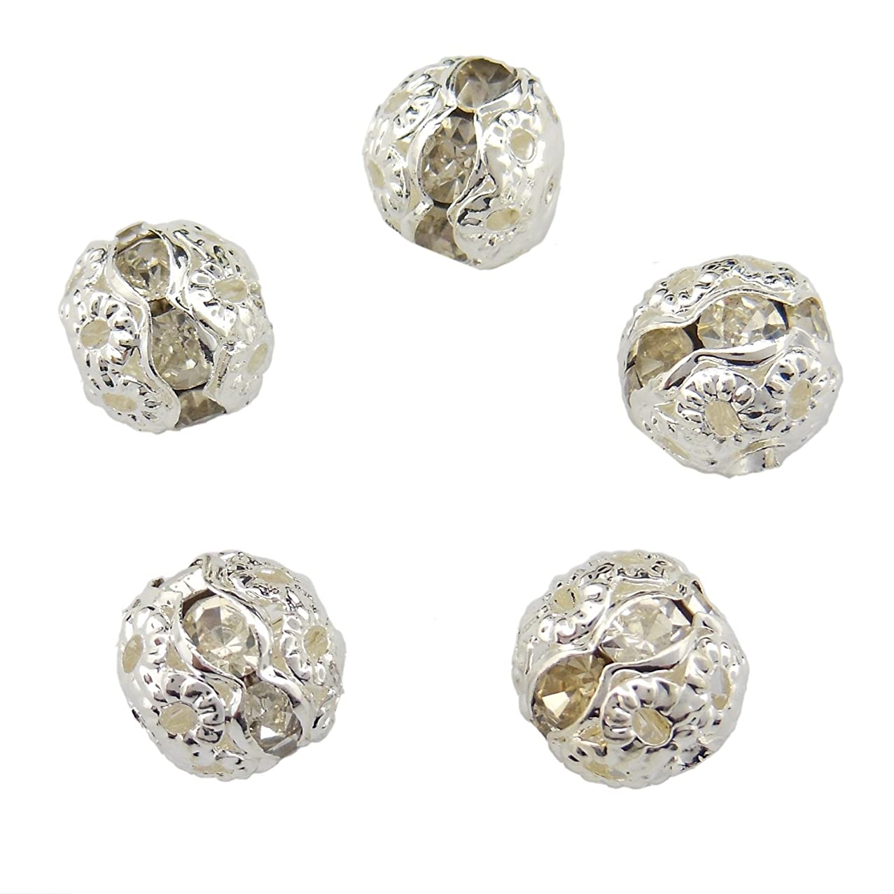 50PCS 8MM Silver Color Crystal Rondelle Spacer Beads Fire Ball Beads for Jewelry Making & DIY (ZQ-1001-8)