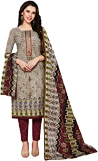 D.S. FABRICS Womens Latest Beautiful ColourFul Pure Cotton & Fancy Embroidery Work On Top With Cotton Mal-Mal Dupatta Dres...