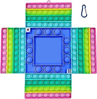 Giant Game Pop It Fidget Toy - Jumbo Poppet Fidget Chess Board Dice Game For Kids, Men and Women – Big Rainbow Silicone Bu...