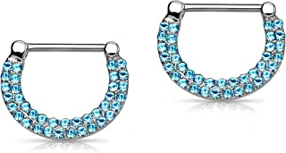 Forbidden Body Jewelry 14G Surgical Steel & Gold IP Plated Double Lined Crystal Gemmed Nipple Piercing Clicker Ring Set