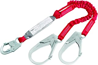 3M Protecta PRO Pack 1342125 6', 100 Percent Elastic Shock Absorbing Lanyard, Snap Hook At One End, Steel Rebar Hook At Leg Ends, 310  lb. Capacity, Red/Gray