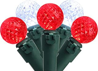 """Brite Star Set of 50 Red and Pure White LED G12 Berry Christmas Lights 4"""" Bulb Spacing - Green Wire"""