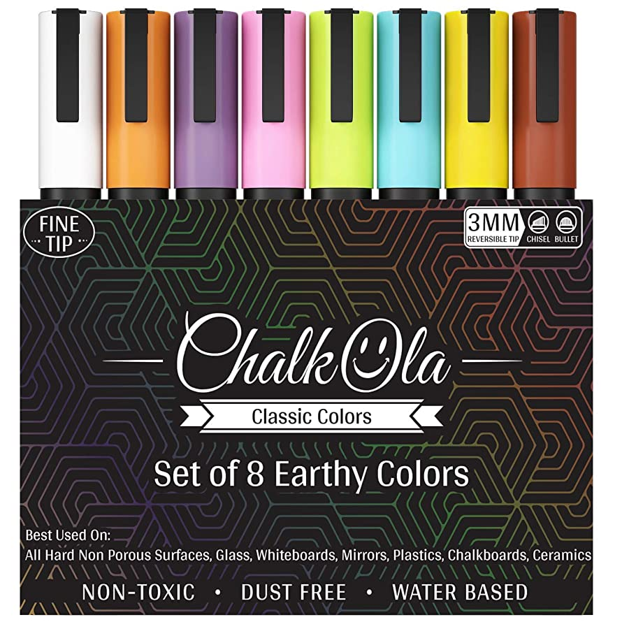 Fine Tip Chalkboard Chalk Markers - Pack of 8 Classic Earth Colors | Non Toxic Wet Erase Liquid Chalk Ink Pens | 3mm Reversible Bullet & Chisel Nib