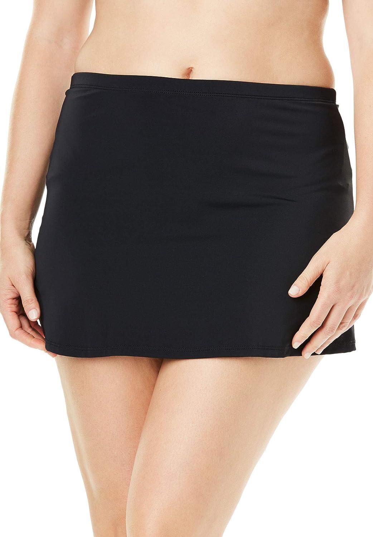 Swimsuits For All Women's Plus Size Side Slit Swim Skirt 12 Black