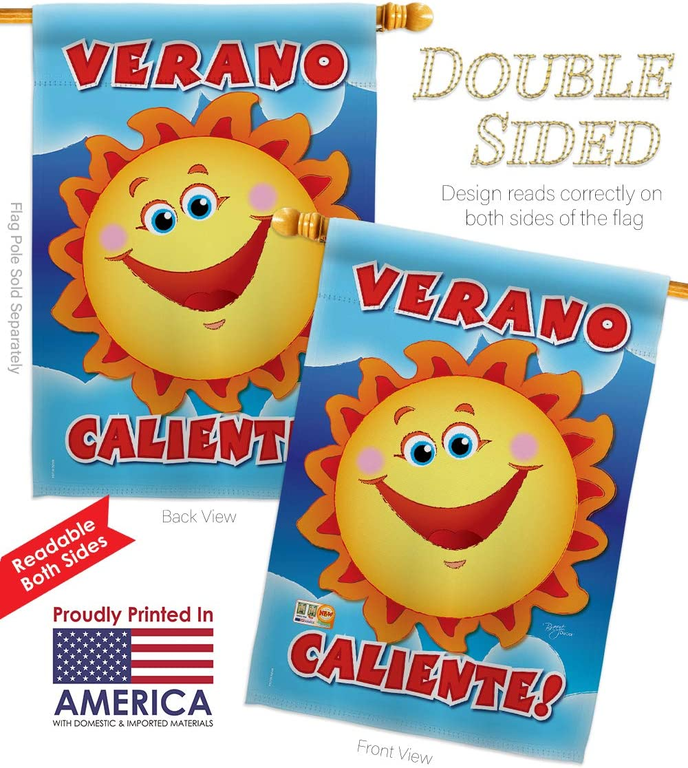 Breeze Decor Fun In The Sun Verano Caliente House Flags 2 Pcs Pack Summer Beach Pool Luau Tropical Party Season Outdoor Summertime Sunny Small Decorative Gift Yard Banner Made Usa