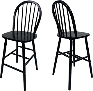 Christopher Knight Home Lopez Spindle Bar Stools-Rubberwood-Traditional-Farmhouse-Style-Black-Set of 2-29.2