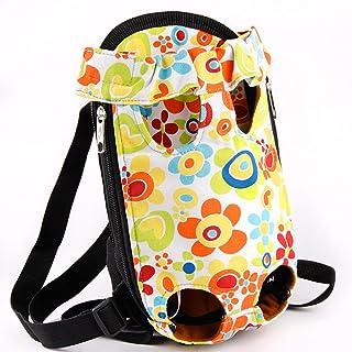 Creation Core Durable Legs Out Pet Front Carrier Pet Travel Carrier Cat Dog Backpack Portable Outdoor Pet Bag, Flower Size S