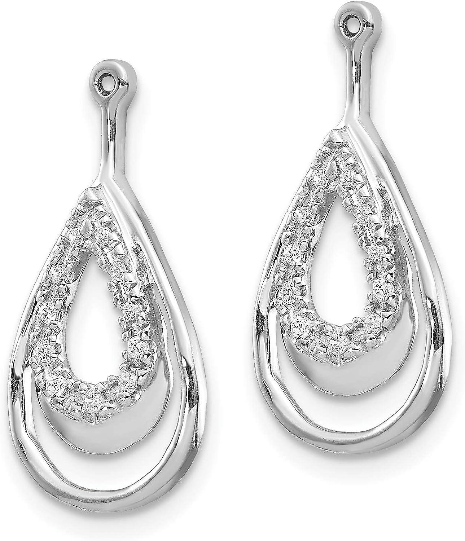 14K White Gold Diamond Dangle Drop Earring Jackets for Stud Earrings (0.08Cttw)