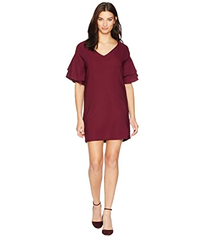 American Rose Dawn Ruffle Sleeve Shift Dress (Burgundy) Women