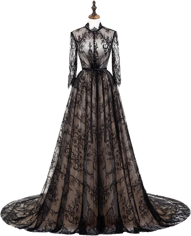 Graceprom Women's Black Lace Evening Dress 3 4 Sleeves Prom Dress