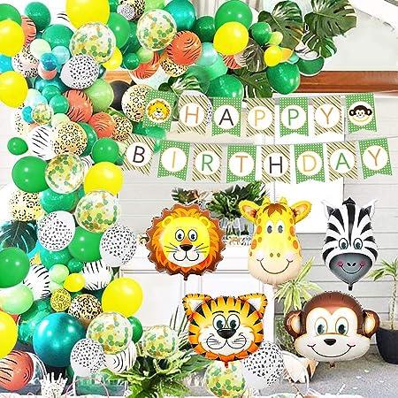 Selva Fiesta de Cumplea/ños de Tem/áticos Globo Happy Birthday Banner de Aluminio Safari Bosque Ni/ño Cumplea/ños Baby Shower Decoraci/ón APERIL Globos Animales de Cumplea/ños Decoracion