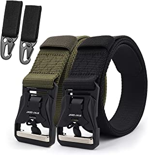STAY GENT 2 Pack Tactical Belt for Men Freely Adjustable Military Belt with Magnetic Quick Release Buckle for Security Gua...