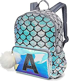 Mermaid School Backpack Initial (Letter H)