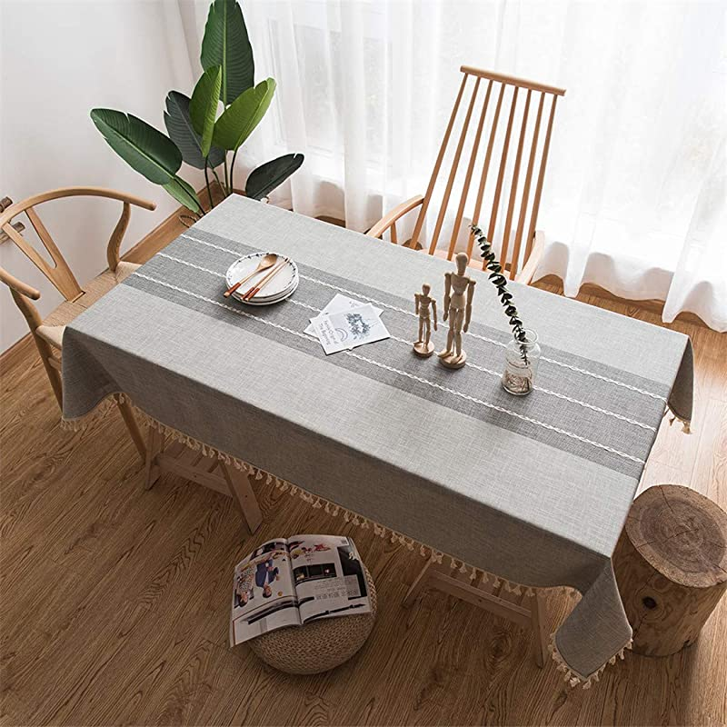 Splicing Cotton Linen Small Fresh Tablecloth Rectangular Literature And Art Table Cloth Shipped From The US Warehouse