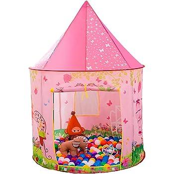 Anyshock テント 子供 女の子 おもちゃ 折り畳み式 ポータブル 玩具収納 秘密基地 知育玩具 プレゼント 室内用 裏庭用 公園用 クリスマスプレゼント キッズテント ピンク