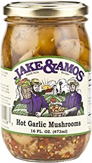 Jake & Amos Pickled Hot Garlic Mushrooms, 16 Oz. Jars (Pack of 2)