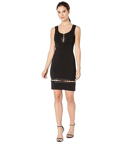 Nicole Miller Heavy Jersey Square Ring V-Neck Dress (Black) Women