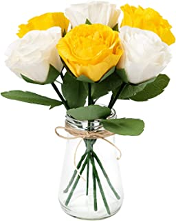 KEY SPRING Paper Flower Decorations, Crepe Paper Rose Flowers, Handcrafted Rose Flowers (Yellow, White, 6PCS) for Wedding Decor, Bridal Bouquet, Table Centerpieces, Nursery Decor, Valentine's Day