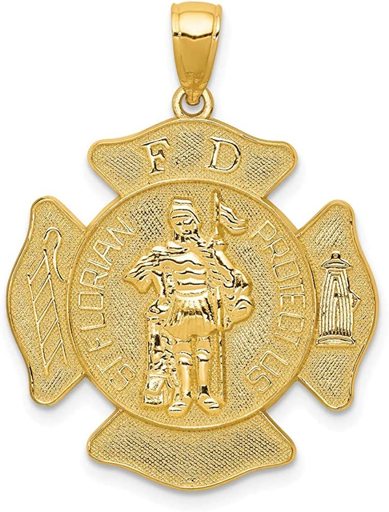 14k Yellow Gold Large Fd Saint Florian Badge Pendant Charm Necklace Religious Patron Medal St Fine Jewelry For Women Gifts For Her
