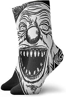 Calcetines para mujer y hombres, con cabeza frontal de payaso, para Halloween, Devil Scary Lächelndes Clown-Monster con grandes Sportsocke 30 cm