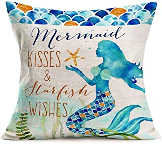ShareJ Mermaid Kisses and Starfish Wishes Pillow Cases Summer Beach Blue Decor Coastal Quote Cotton Linen Home Decorative Throw Pillow Case Cushion Cover for Sea Lover Sofa Couch 18