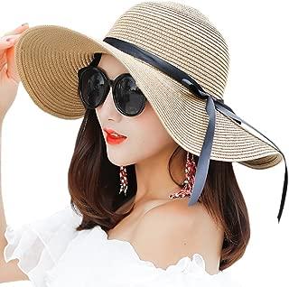 Women's Big Brim Sun Hat Floppy Foldable Bowknot Straw Hat Summer Beach Hat