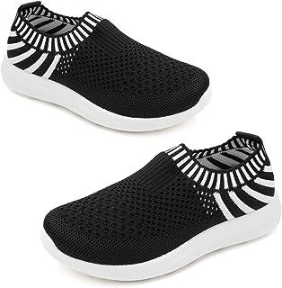 Sponsored Ad - Apawwa Boys Girls Sneakers Kids Lightweight Slip On Running ShoesPink/Blue/Navy/Black Walking Shoes Breath...