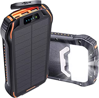 Oxsaytee 26800mAh Solar Power Bank, IP66 Waterproof Portable Solar Charger Outdoor Phone Chargers with LED Light, Huge Cap...